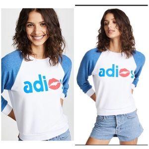 Wildfox White Blue Red Adios Sweatshirt NWT
